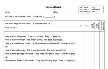 Reading Street 2013 Running Record 2.5.1