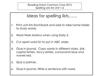 Reading Street CC 2013 Spelling Lists