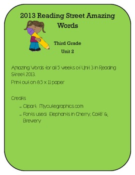 3rd Grade Reading Street 2013 Unit 2 Amazing Words