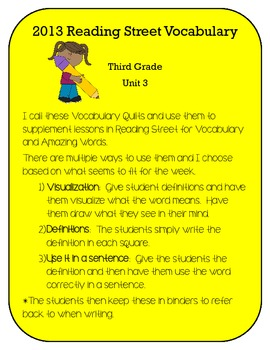 3rd Grade Reading Street 2013 Unit 3 Vocabulary and Amazin