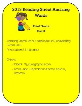 3rd Grade Reading Street 2013 Unit 3 Amazing Words