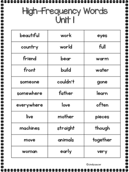 Reading Street, 2nd Grade, High-Frequency Words and Vocabulary Words
