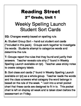 Reading Street, 2nd Grade, Unit 1 Weekly Spelling Launch: Student Group Sort