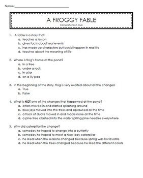 Reading Street 2nd Grade Unit 4 Story Comprehension Quizzes