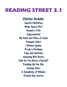 Reading Street 3.1 Vocabulary Handouts, Definitions, and Sentences