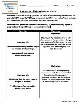 Reading Street 3rd Grade: A Symphony of Whales [NO PREP Comprehension Packet]