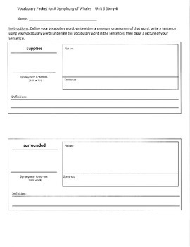 Reading Street 3rd Grade A Symphony of Whales Vocabulary Packet