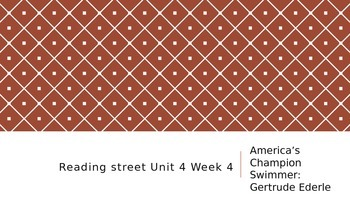 Reading Street 3rd Grade America's Champion Swimmer ppt.