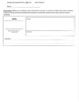 Reading Street 3rd Grade Fly, Eagle, Fly Vocabulary Packet