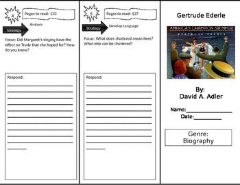 Reading Street 3rd Grade Gertrude Ederle Trifold