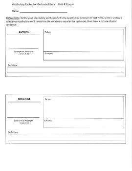 Reading Street 3rd Grade Gertrude Ederle Vocabulary Packet
