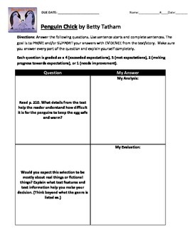 Reading Street 3rd Grade: Penguin Chick [NO PREP Comprehension Packet]