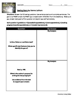 Reading Street 3rd Grade: Seeing Stars [NO PREP Comprehension Packet]