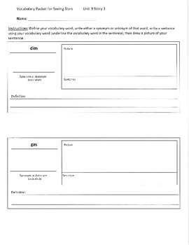Reading Street 3rd Grade Seeing Stars Vocabulary Packet