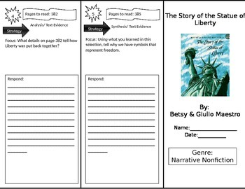 Reading Street 3rd Grade The Story of the Statue of Liberty Trifold