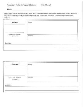 Reading Street 3rd Grade Tops & Bottoms Vocabulary Packet