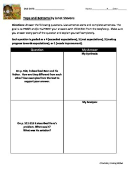 Reading Street 3rd Grade: Tops and Bottoms [NO PREP Comprehension Packet]