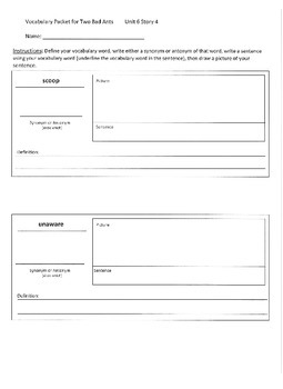 Reading Street 3rd Grade Two Bad Ants Vocabulary Packet