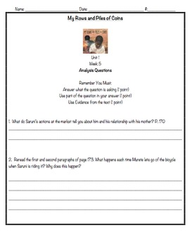 Reading Street, 3rd Grade, Unit 1 Analysis Questions