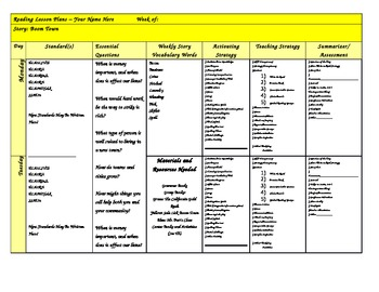 Reading Street 3rd Grade Unit 1 Lesson Plan Template Combination Pack