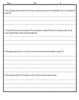 Reading Street, 3rd Grade, Unit 4 Analysis Questions