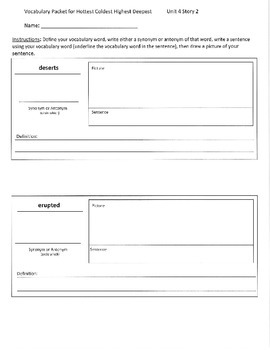Reading Street 3rd Grade Unit 4 Vocabulary Packets
