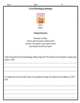 Reading Street, 3rd Grade, Unit 5 Analysis Questions