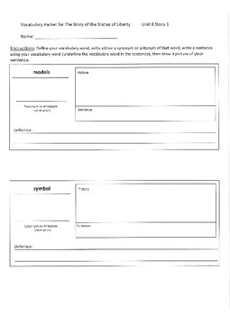 Reading Street 3rd Grade Unit 6 Vocabulary Packets