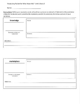 Reading Street 3rd Grade What About Me? Vocabulary Packet