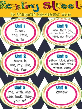 Reading Street 40 Kindergarten High-Frequency Word List FREEBIE