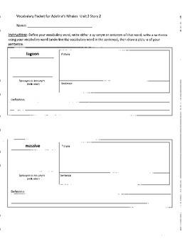 Reading Street 4th Grade Adelina's Whales Vocabulary Packet