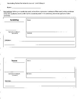 Reading Street 4th Grade Antarctic Journal Vocabulary Packet
