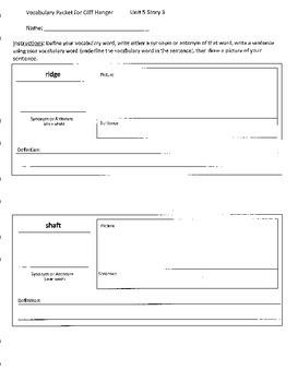 Reading Street 4th Grade Cliff Hanger Vocabulary Packet