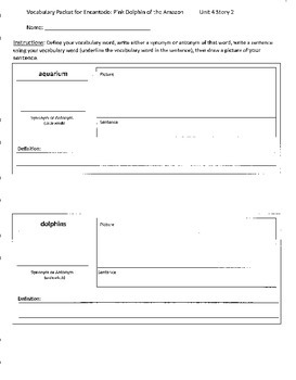 Reading Street 4th Grade Encantado Vocabulary Packet