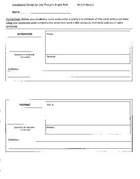 Reading Street 4th Grade Jim Thorpe Vocabulary Packet