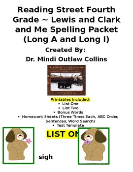 Reading Street 4th Grade ~ Lewis and Clark and Me Spelling Packet
