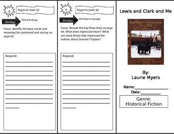 Reading Street 4th Grade Lewis and Clark and Me Trifold