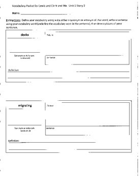 Reading Street 4th Grade Lewis and Clark and Me Vocabulary Packet