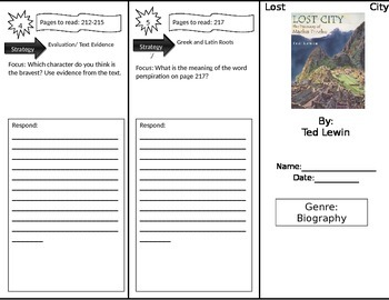 Reading Street 4th Grade Lost City Trifold
