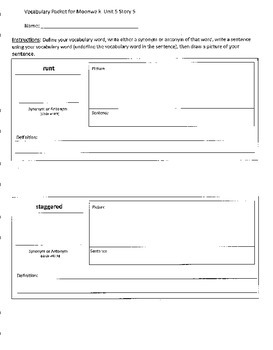 Reading Street 4th Grade Moonwalk Vocabulary Packet