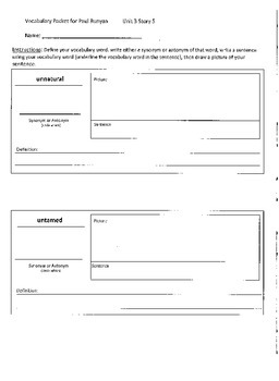 Reading Street 4th Grade Paul Buyan Vocabulary Packet