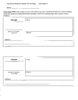 Reading Street 4th Grade Seeker of Knowledge Vocabulary Packet