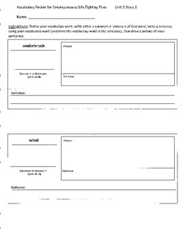 Reading Street 4th Grade Smokejumpers Vocabulary Packet