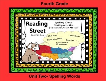 Reading Street 4th Grade Spelling Sort for Unit Two