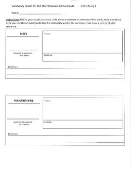 Reading Street 4th Grade Unit 3 Vocabulary Packets