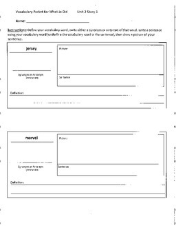 Reading Street 4th Grade What Jo Did Vocabulary Packet