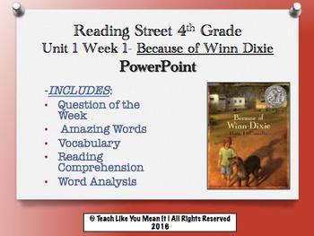 Reading Street 4th- Unit 1 Week 1 PowerPoint- Because of Winn Dixie