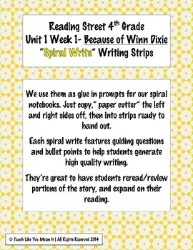 Reading Street 4th- Unit1 Week1 'Sprial Write' Strips for Because of Winn Dixie