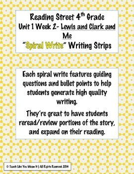 Reading Street 4th- Unit1 Week2 'Sprial Write' Strips for Lewis and Clark and Me