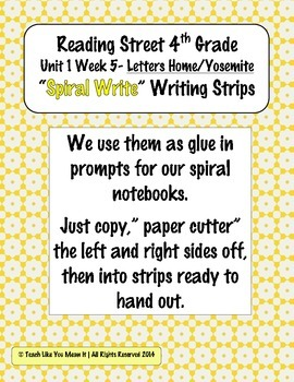 Reading Street 4th- Unit1 Week5 'Sprial Write' Strips for